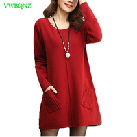 New Spring Autumn Knitted Sweater Pullover Women Winter Jacket O Collar Loose Plus Size Joker Long