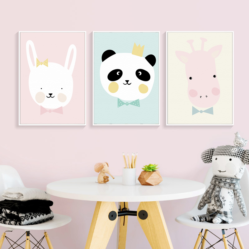 Simple Cute Cartoon Animal Hippo Rabbit Panda Canvas Paintings Posters And Prints Art Wall Girl Room Nursery Home Decor Pictures Painting Calligraphy Aliexpress