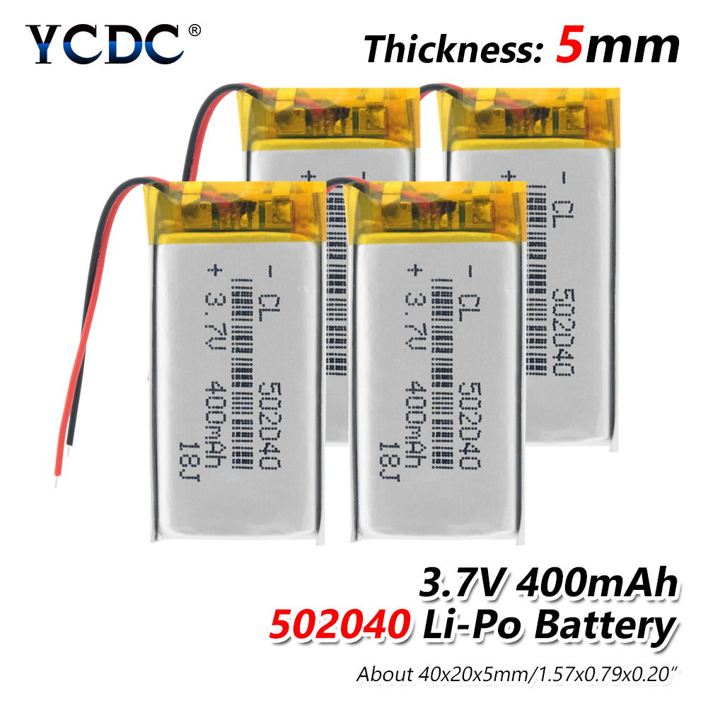 Rechargeable <font><b>3.7V</b></font> <font><b>400mAh</b></font> 502040 <font><b>Battery</b></font> Lithium Polymer <font><b>Battery</b></font> Li-Po li ion Lipo cells For MP3 MP4 GPS Recorder Pen LED Light image