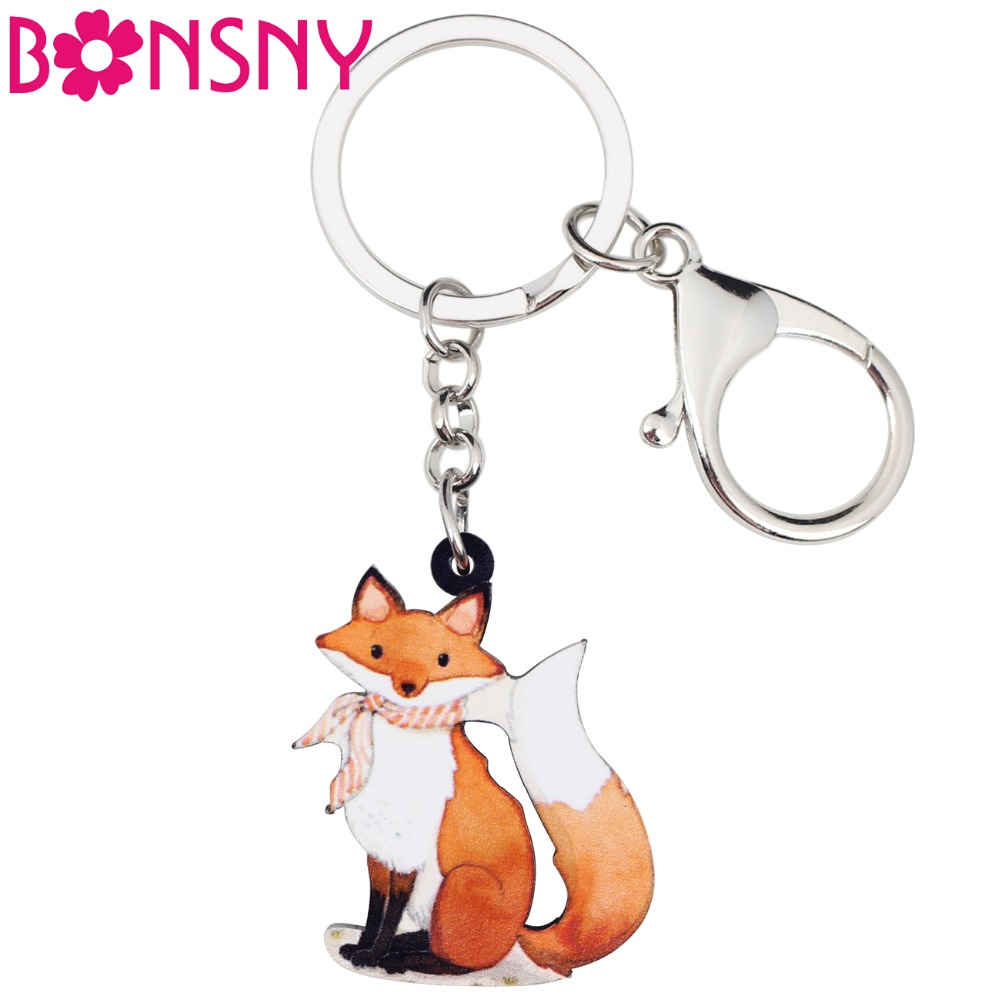 Bonsny Acrylic Anime Cartoon Elegant Fox Key Chains Keyring For Women Girl Bag Purse Car Ladies Pendant Wallet Charms GIFT