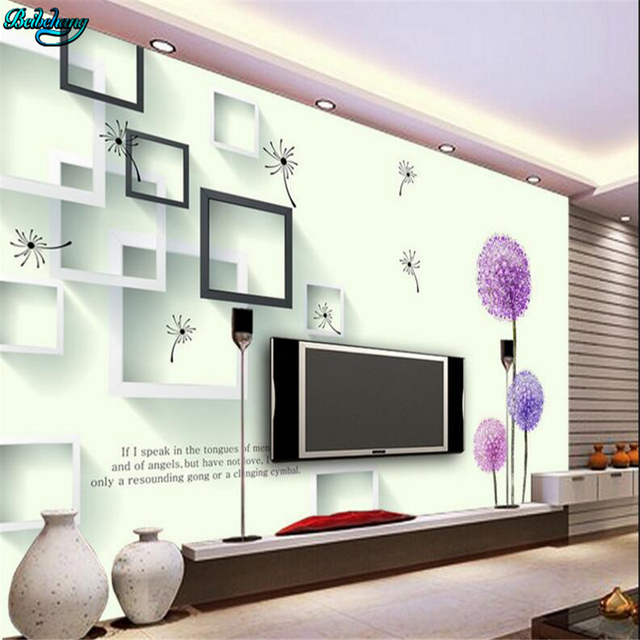 Beibehang Kustom Besar 3D Ungu Dandelion Bunga Kotak Romantis TV Ruang Tamu Kamar  Tidur Latar Belakang 5ecda72d97