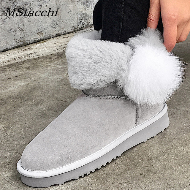 MStacchi New Winter Shearling Women Ankle Boots Flats Heel Warm Wool Lining Real Sheepskin Fur Women Shoes Pink Short Snow Boots