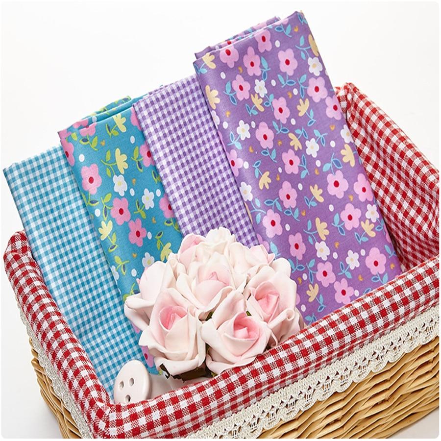 4ks / šarže 40 * 50cm Modrá fialová květinová řada 100% bavlněná tkanina na bavlnu Textilní tílka na šití látky Diy