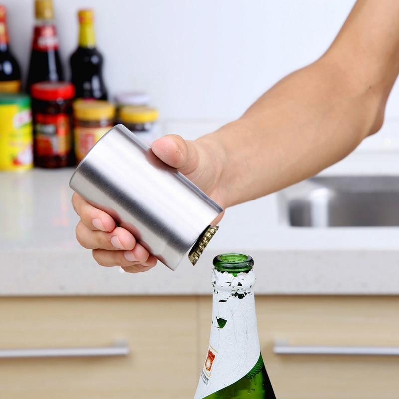 Botol Stainless Steel Beer Opener Aksesori Dapur Automatik Beer Soda Cap Botol Botol Wain Anggur Pembuka Bar Alat Dapur