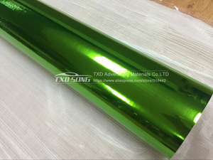 Image 4 - The newest High stretchable mirror green Chrome Mirror flexible Vinyl Wrap Sheet Roll Film Car Sticker Decal Sheet