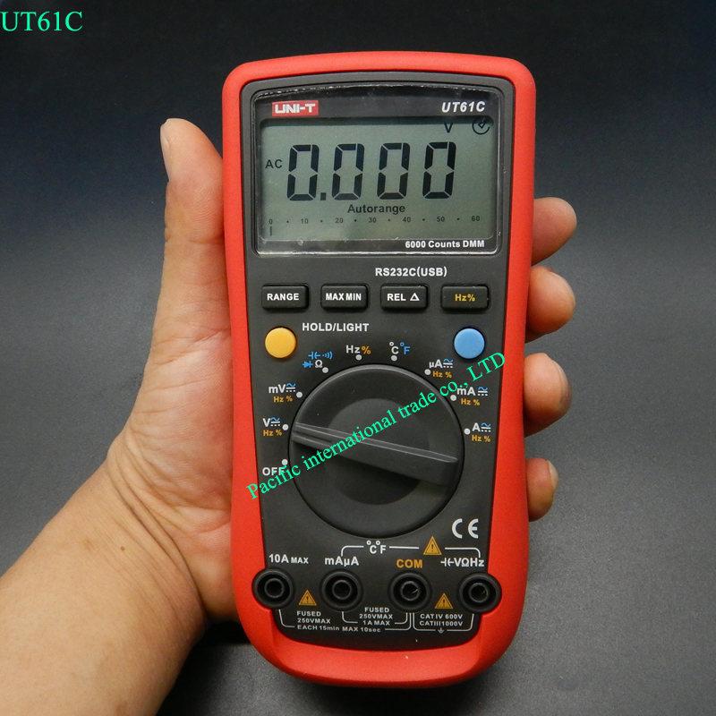 Digital Multimeter UNI-T UT61C High Reliability Modern Digital Multimeters  AC DC Meter CD Backlight & Data Hold Multitester uni t ut30c original authentic data handed hold digital multimeters temperature test