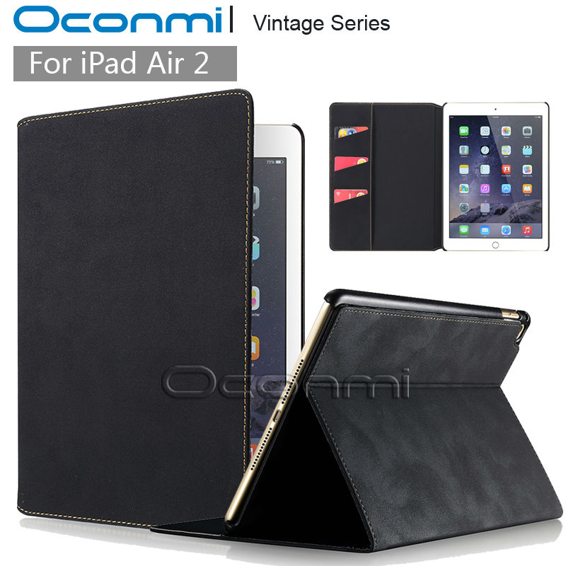 Vintage Leather case for Apple iPad air 2 with stand flip leather cover smart case for iPad air2 credit card slots wallet sleeve vintage leather multi function wallet card pocket zipper flip case cover for apple iphone 6 6s 4 7