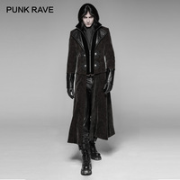 PUNK RAVE Men Steampunk Detachable Gentleman Long Coat Fashion Men Gothic Long Jacket Stage Perform Men Trench Coat