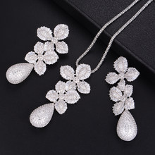GODKI 71mmLuxury Leaf Flower Water Drop Women Wedding Cubic Zirconia Choker Necklace Earring Dubai Jewelry Set Jewellery Sets(China)