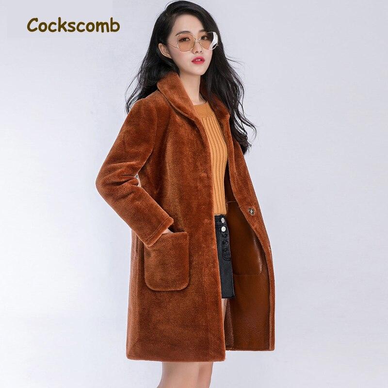 ebb4ca9902c Кокскомб бренд 2018 новый творческий поярок пальто Верхняя одежда Для  женщин отложной воротник с длинными рукавами