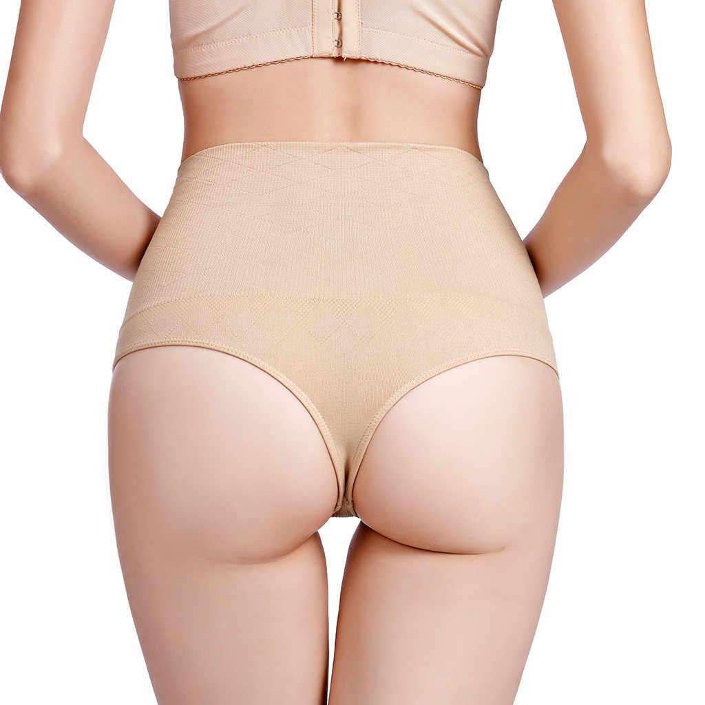Бесшовная Женская высокая талия живот для похудения контроль трусики трусы корректирующее белье майка облегающая леди корсет