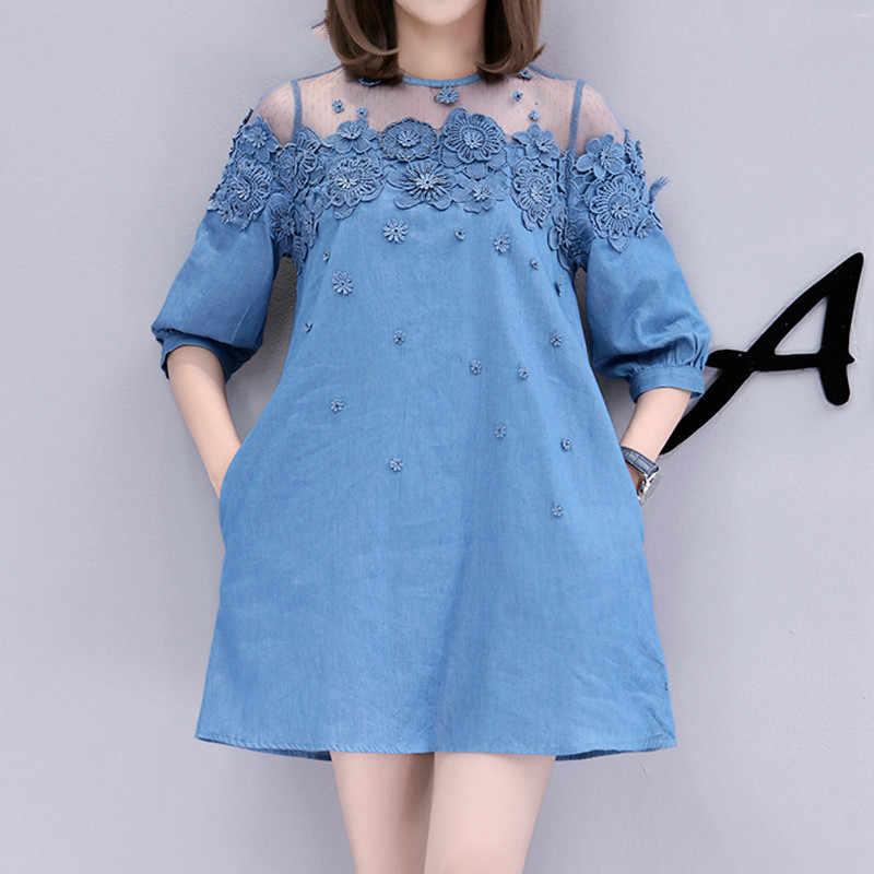 986536c1c3 Kadın Gevşek Bir Çizgi Denim Elbise Büyük Boyutu Yeni 2019 Yaz Moda Boncuk  Örgü Dantel Patchwork