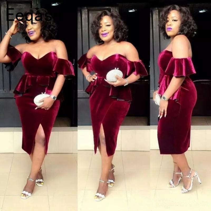 African Burgundy Velvet Short Cocktail Dresses Sexy Off Shoulder Side Split Plus Size Prom Dress Formal Celebrity Party Gowns