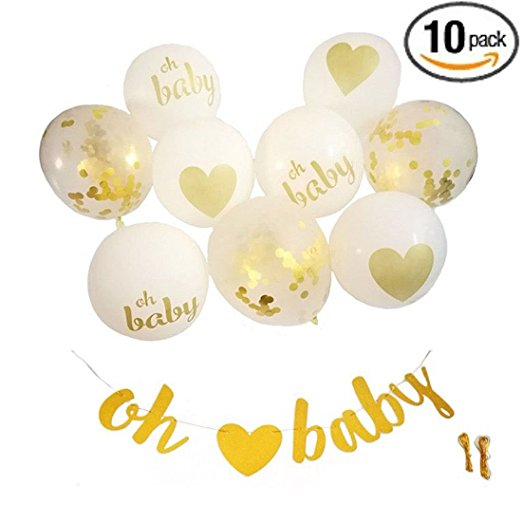 Baby Shower Decorations Neutral Gender Reveal Party Banner & Balloons OH BABY Banner & 9PC Gold & White Balloons with Confet