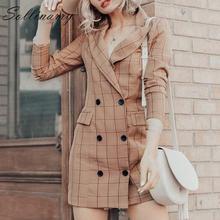 Sollinarry Notched Lapel Autumn Blazer Coat Dress Women Fashion Buttons Elegant Jacket 2019 Casual OL