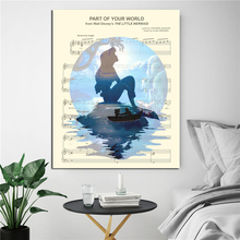 Little Mermaid Ariel On Rock Silhouette HD Wall Art Canvas Posters Prints Painting Pictures For Office Bedroom Home Decor