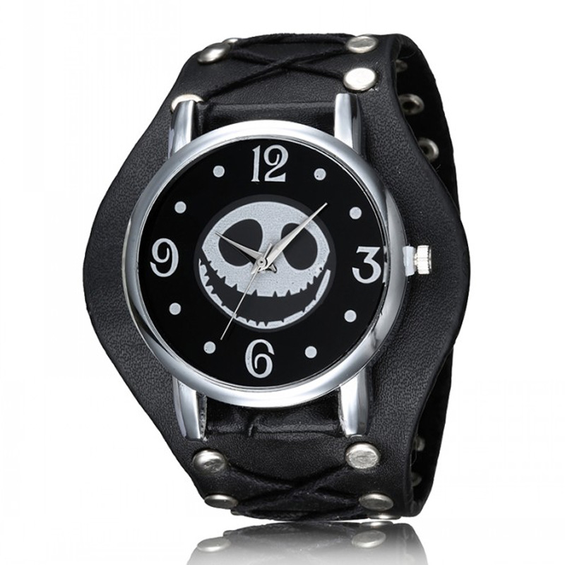 Unique Punk Style Nightmare Before Christmas Skull Mens Watch Leather Strap Quartz Wrist Watch Male Sports Luxury Top Brand 2017