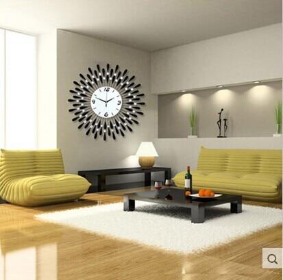 Large Diamond Luxury Living Room Wall Clock Iron European Modern Fashion Creative Personality Mute Watches Black