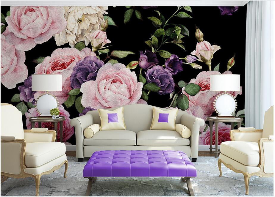 Custom photo 3d wallpaper Non-woven mural 3d wall murals wallpaper for living room European Watercolor roses decoration painting  custom mural wallpaper 3d non woven black and white flower hand painted paintings living room sofa tv 3d wall murals wallpaper