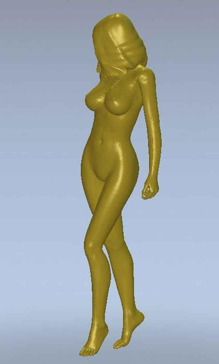 Relieve de modelo 3d para impresoras cnc o 3D en formato de archivo STL, chica desnuda en movimiento -- 9