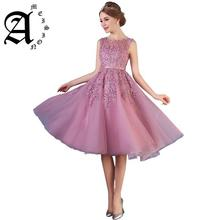2019 Spring summer Hot Sale Sexy Scoop Lace Pearls A-line Party Gown Formal Dress Homecoming Slim Dresses evening dresses