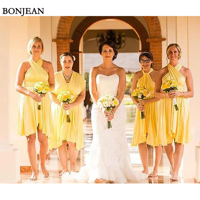 Elegant Yellow A-Line Chiffon   Bridesmaid     Dresses   Cheap Mismatched short 2019 Wedding Party Gown   Bridesmaid   Dresse