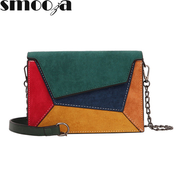 SMOOZA Fashion Quality Leather Patchwork Women Messenger Bag Female Chain Strap Shoulder Bag Small Criss-Cross Ladies' Flap Bag