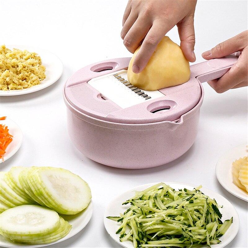 Multifunktions 8 in 1 Mandoline Slicer Mit Sieb Obst Gemüse Cutter Kartoffel Schäler Karotte Zwiebel Küche Zubehör Gadget