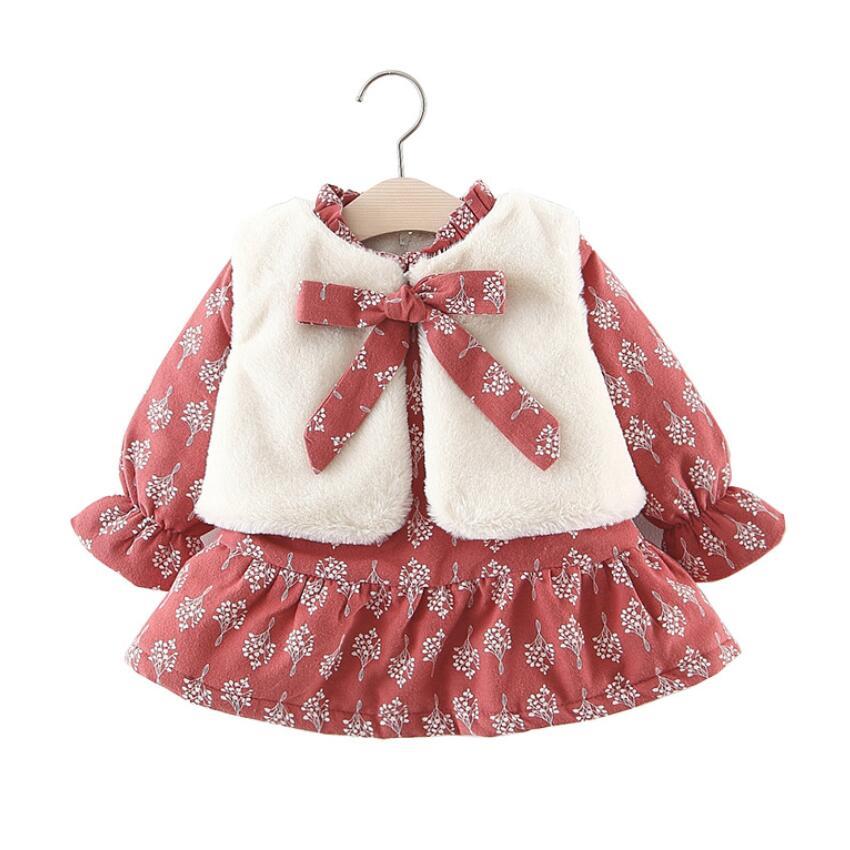 2a0520694 Nuevo Bebé de invierno Niña vestido bebé niña ropa bebé de lana caliente  dentro de la flor vestidos + chaleco 2 piezas conjunto niño ropa para 0-3  años