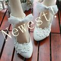 2017 new coming fashion bow ankle straps wedding shoes white flower decoration female bridal shoes on sale XNA 008
