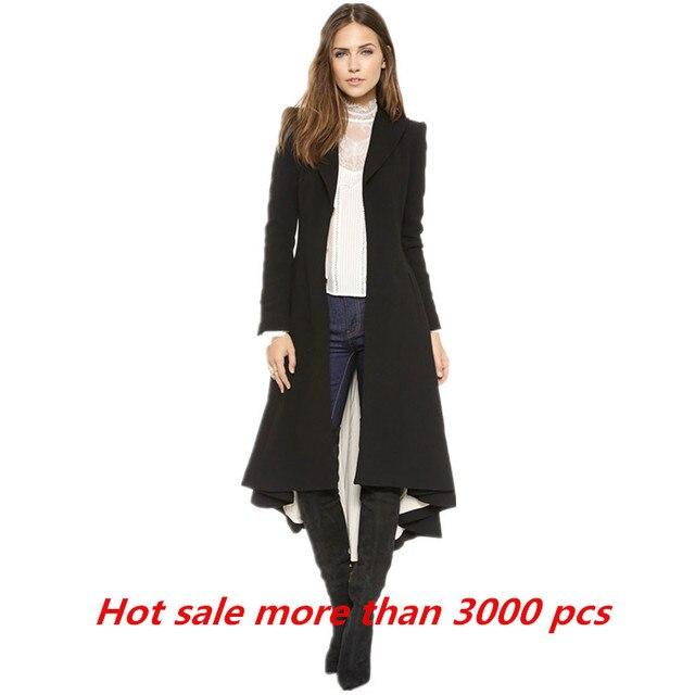 Autumn Winter Women Swallowtail Wool Long Black Trench Dress Coats ...