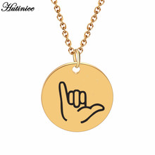 Personalized Disc Gold Hand Gesture Engraved Shaka Sign Pendant Charms Dainty Hand Stamped Necklace Stainless Steel Jewelry BFF(China)