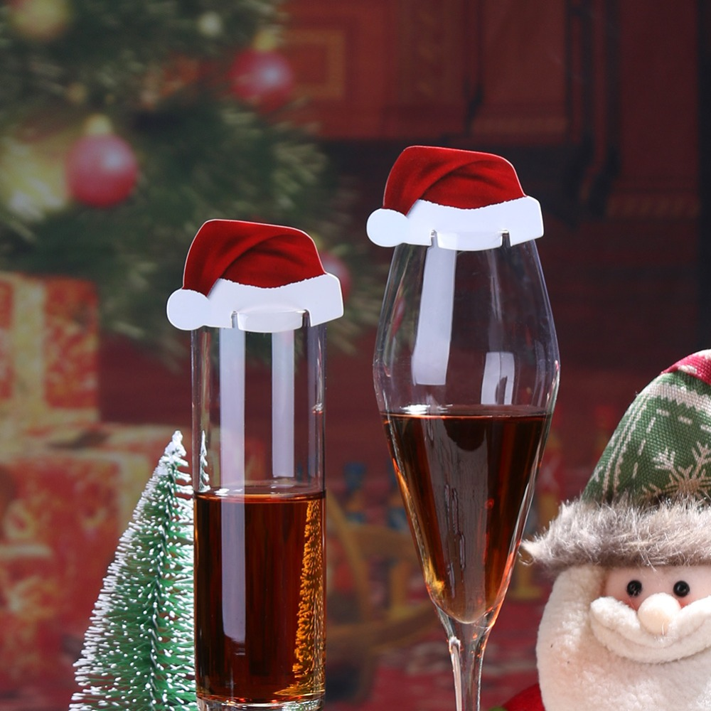 10Pcs/lot Christmas Decorations For Home Table Place Cards Christmas Santa Hat Wine Glass Decoration New Year Party Supplies