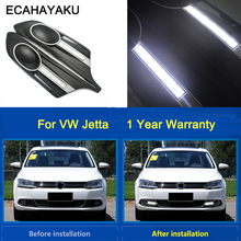 цена на free shipping ECAHAYAKU for 2012 2013 Volkswagen J-etta LED DRL Daytime Running Light with projector lens with fog lamp hole