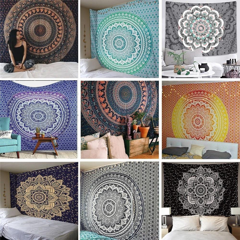 Bohemian Indian Mandala Tapestry Wall Hanging Lotus Psychedelic Hippie Tapestry Wall Rug Throw Yoga Mat Living Room Wall Carpet