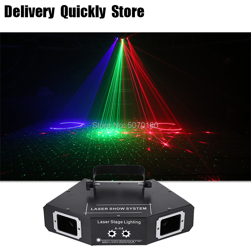 DJ Dance Bar Coffee Xmas Laser Disco 4 Len RGB Laser Image Lines Scans Lazer Home Party Disco Effect Lighting Light System Show