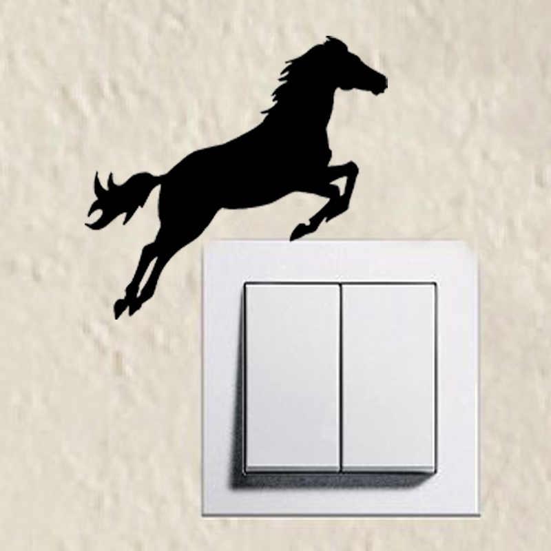 Di modo Cavallo Che Salta Silhouette Interruttore Sticker Divertente Decorazione Della Casa Della Parete Sticker 2WS0203