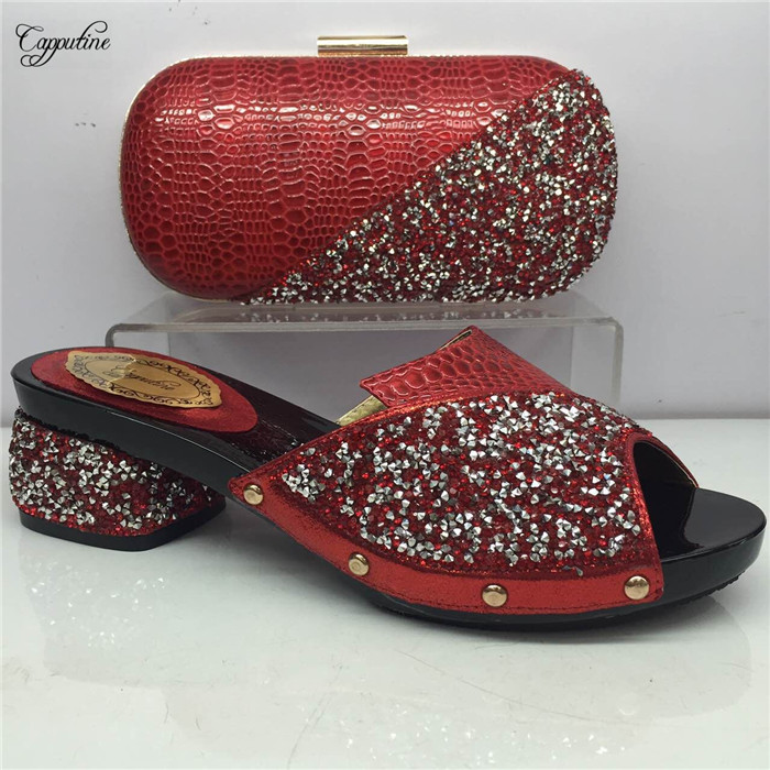 Most popular red African slip-on shoes and evening handbag set for lady GY5 , heel height 5cm, 5 color