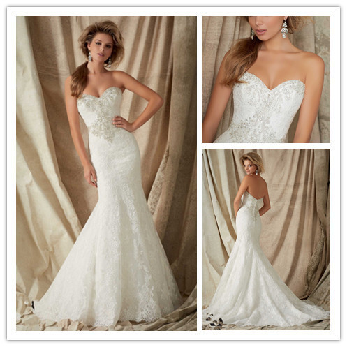 Lace Bride Bead Gown Mermaid Wedding Dresses to Party Off the Shoulder Sweetheart vestido de noiva Casamento 2015 casamento in Wedding Dresses from Weddings Events
