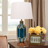 Bedroom table lamp ceramic bedside table lamp new Chinese blue green simple living room decoration table lamp LW523330PY