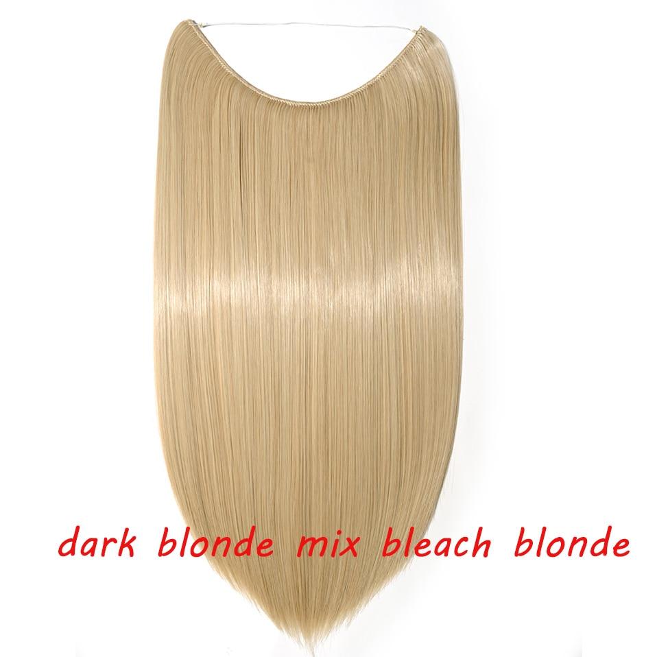 S-noilite 20 дюймов невидимый провод без заколки для волос Расширения секретная Рыбная линия шиньоны шелковистые прямые настоящие натуральные синтетические - Цвет: 18 mix 613