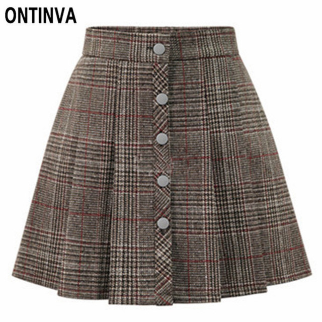 2465ad09ae 2019 Vintage Plaid High Waist Pleated Skirts with Buttons Girls A Line  Short Mini Faldas Spring Formal Ladies Office Chic Skirts