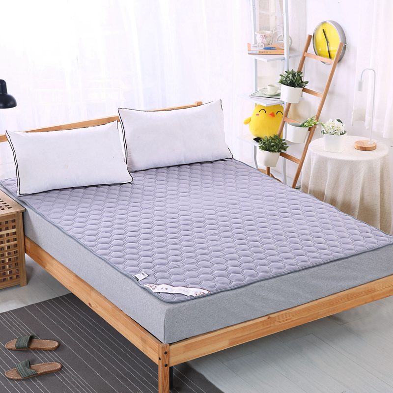 Brief Solid Quilting Mattress Cover Bed Protection Pad Sanding Polyester Cotton Fabric Filler Fitted Sheet Customizing
