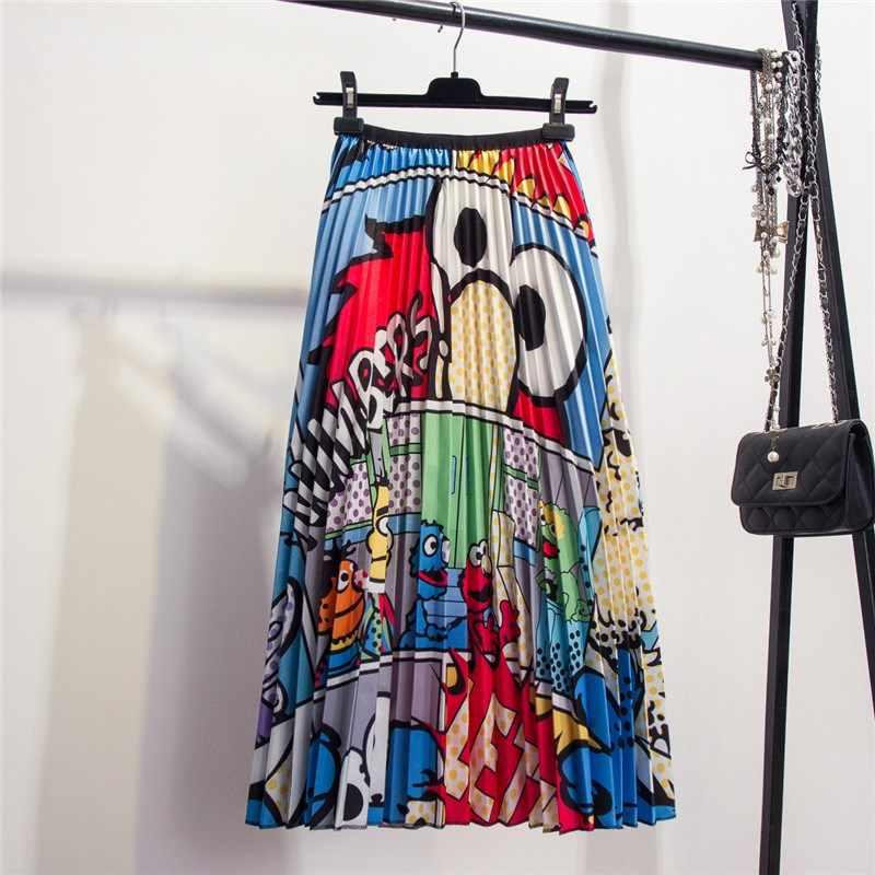 Nueva Falda Midi con estampado de rana Animal de 2019 para mujer, Falda plisada de verano de Color en contraste, Falda informal de Hip Hop para mujer falda