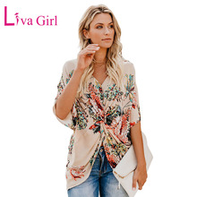LIVA GIRL Casual Summer Amaryllis Floral Print Blouses and Tops Women Spring Sexy V Neck Half Sleeve Twist Shirts New Blusas XXL
