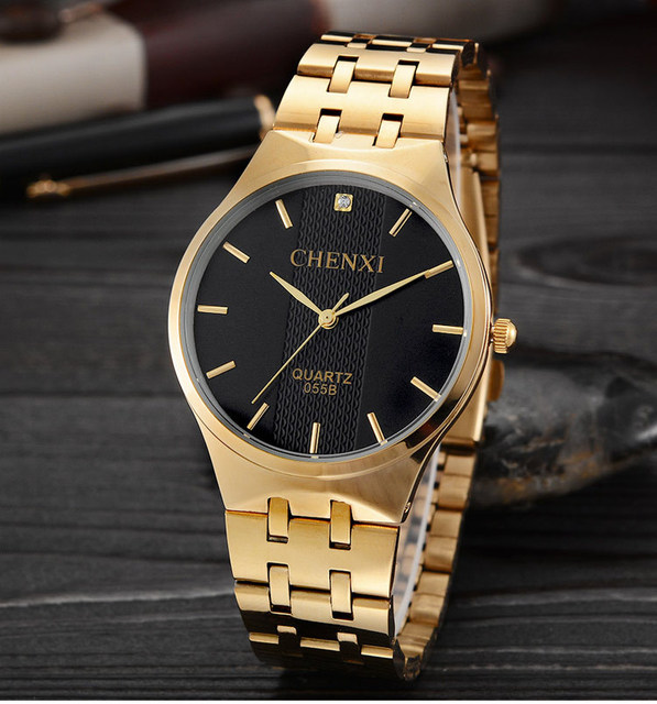 Chenxi 055B Brand Waterproof Women Man Lovers Gold Ladies Quartz Luxury Golden W