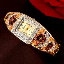 Ladies Crystal Flower Bracelet Women Lovely Gift Dress Quartz Watch LVPAI Brand Luxury Bangle Watch Gold Plated Wristwatch 2019(China)