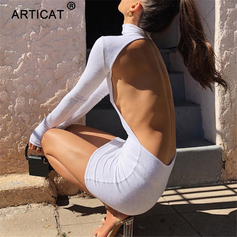 Articat Sexy Backless Bodycon Dress Autumn Women High Collar Solid Bandage Slim Dress Hollow Out Long Sleeve Mini Dress Vestidos