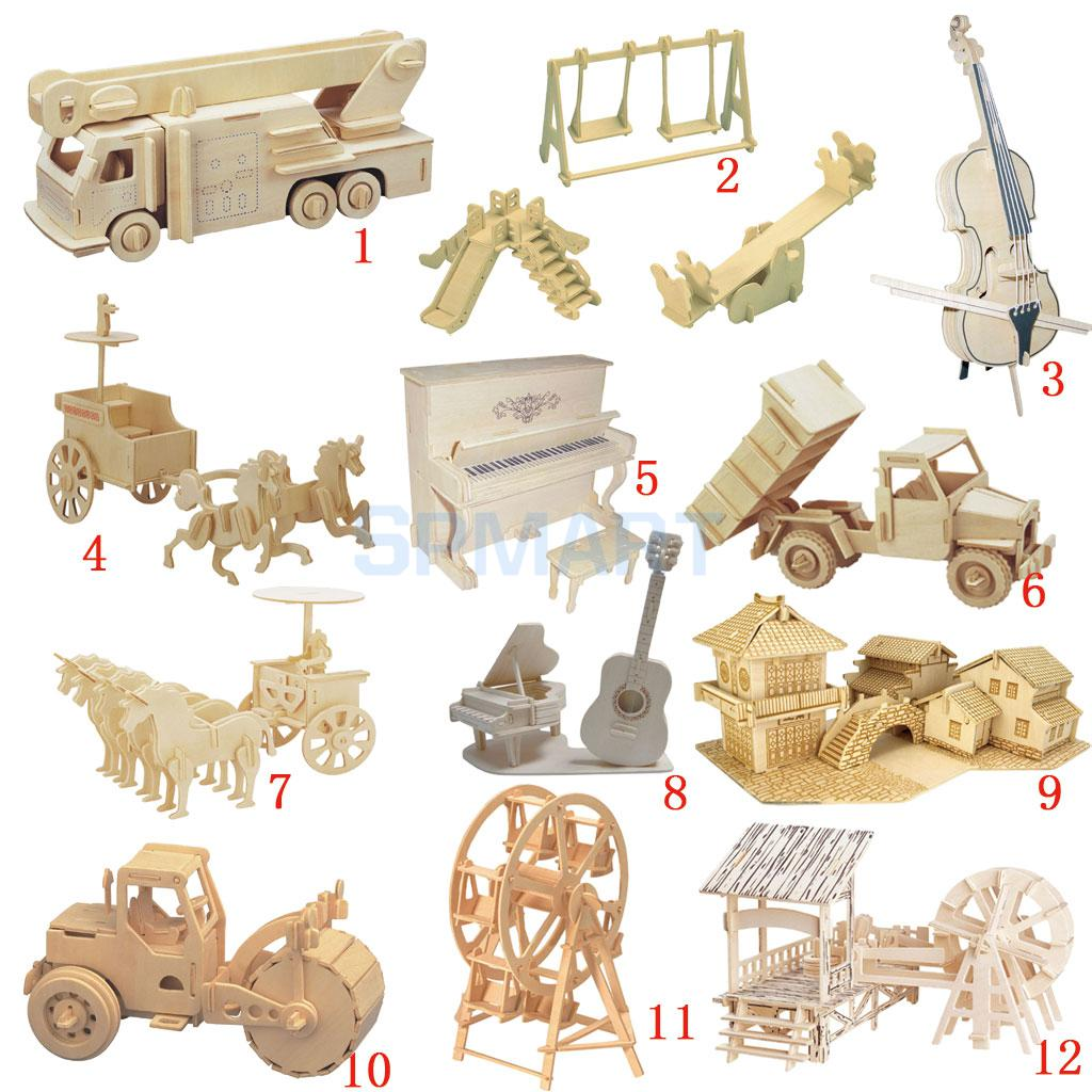 Kids wood craft kits - 3d Wooden Puzzles Woodcraft Construction Kit Moving Model Kit Diy Puzzles Kids Educational Toys China