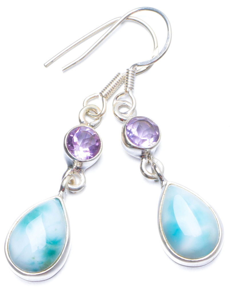 Natural Caribbean Larimar and Amethyst Handmade Unique 925 Sterling Silver Earrings 1.5 Y0215
